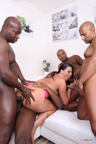 LegalPorno.com - Busty bitch Simony Diamond comes to receive black cocks in all her holes IV190