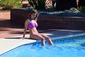 Gemma Atkinson - in Purple Bikini Relaxing by the Pool