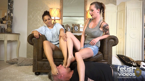 Lady Ivy and Lady May want him too lick the sweaty feet and nibble the cornea - FULL HD WMV