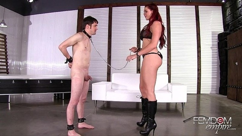 Amazon, Ballbusting, Busty, CBT, Humiliation, Red Head