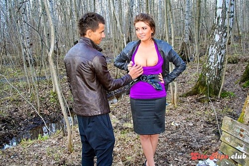 Busty girl gives public blowjob - Ally - wtfpass.com